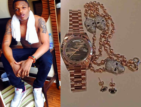 WIZKID POSES WITH HIS $30,000 WORTH OF JEWELRY